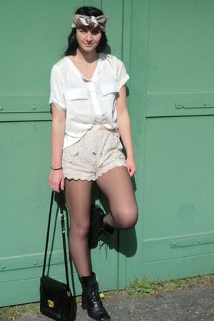 black vintage boots - beige vintage scarf - black vintage bag - tan H&M shorts -