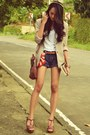 Blazer-denim-shorts-loose-cotton-t-shirt-wedges