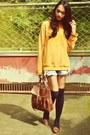 Mustard-yellow-jumper-satchel-bag-pearly-shorts