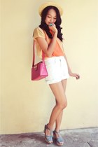 pink andrea pfister bag - white calvin klein shorts - sheer cover-up top - brigh