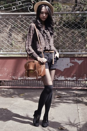 sheer ruffled blouse - boater hat - messenger bag - shorts - oxford heels