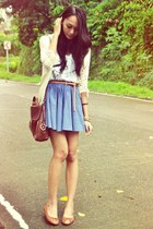 high-waisted skirt - messenger bag - crocheted cardigan - flats