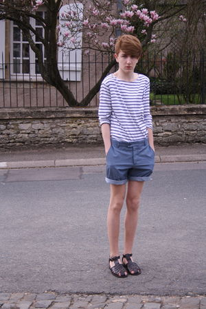 brown asos shoes - blue H&M shorts - white weekday t-shirt