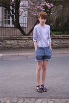 brown asos shoes - blue H&M shorts - white weekday t-shirt