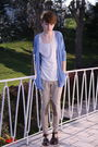 Beige-h-m-pants-white-weekday-t-shirt-blue-american-apparel-cardigan