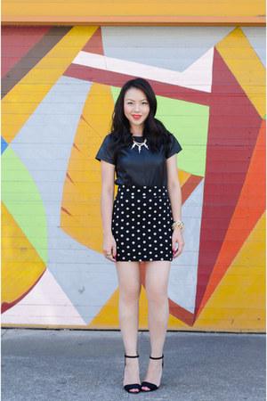 polkadot Forever 21 skirt - asos necklace - Zara heels