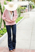 JCrew hat - wide leg MIH Jeans jeans - cardigan Left on Houston sweater