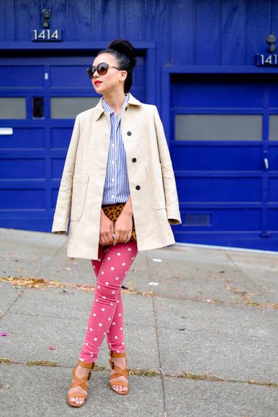 linen Zara coat - button up JCrew shirt - leather Zara sandals