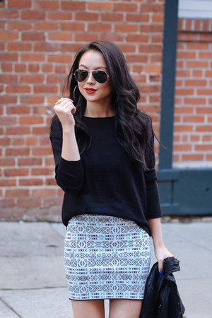knit Left on Houston skirt - sheer BP sweater