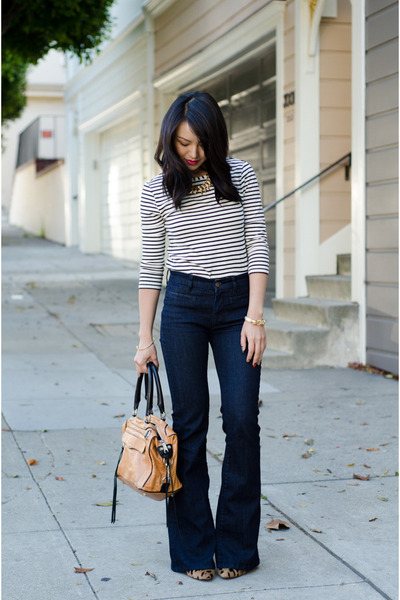 wide leg MIH Jeans jeans - jeans Forever 21 shirt - rhinestone jeweliq necklace