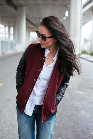 boyfriend True Religion jeans - varsity Forever 21 jacket