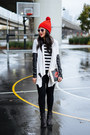 Motorcycle-acne-boots-clutch-thursday-friday-bag-pleather-ella-moss-cardigan