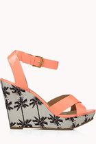 coral palm tree Forever21 wedges