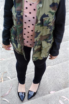 camo obey jacket - polkadot American Apparel pumps - pointed Pixie Market flats