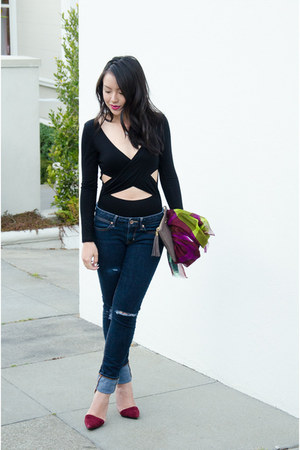 wrap asos bodysuit - clutch GiGi New York bag