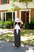 fedora River Island hat - straw ann taylor bag - maxi Charlotte Russe skirt