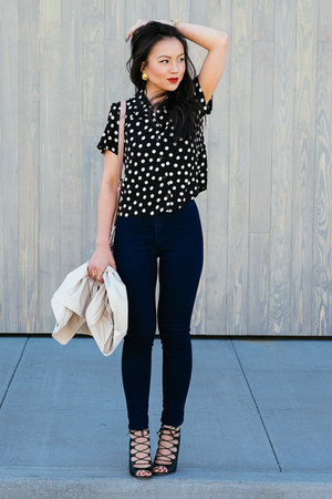 asos shirt - high waisted American Apparel jeans - polka dot Forever 21 bag