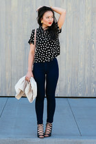 asos shirt - high waisted American Apparel jeans - polka dot Forever 21 bag