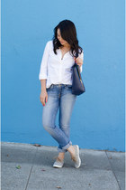 madewell sneakers - light JCrew Factory jeans - tote ann taylor bag