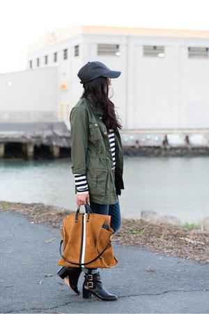 stripes Gap shirt - riding sam edelman boots - tote Clare V bag