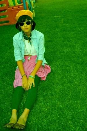 orange vintage hat - yellow boutique sunglasses - pink target skirt