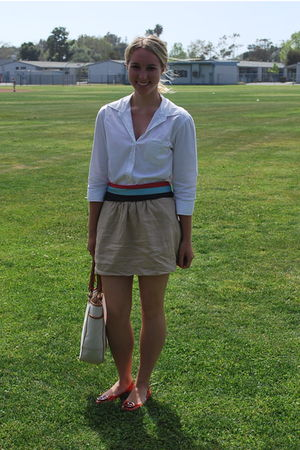 white Old Navy blouse - red belt - beige thrifted skirt - red tory burch shoes -