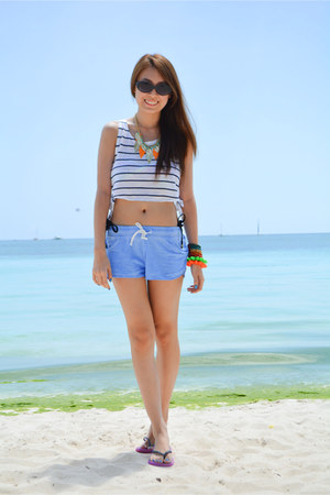 blue Terranova shorts - black Uniqlo sunglasses - slippers Banana Peel flats