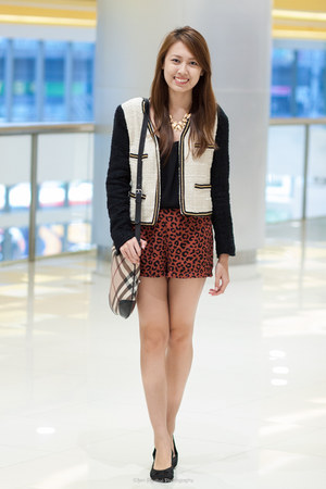 black and white Mango jacket - sling Burberry bag