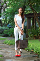 white Alfani shirt - neverfull Louis Vuitton bag - white Mango pants
