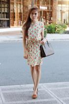 brown Louis Vuitton bag - floral Robinsons dept store dress