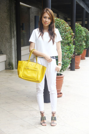 white Mango pants - yellow Prada bag - strappy Nine West heels - white DKNY top