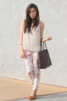 floral asian fashion pants - neverfull Louis Vuitton bag - brown cotton on flats