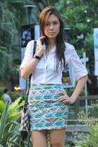 tribal M Shoppe skirt - sling Burberry bag - houndstooth Isabel Toledo heels