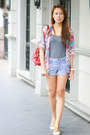 Red-nine-west-bag-denim-forever-21-shorts-gray-h-m-top