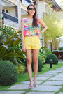 Yellow-bossini-shorts-black-uniqlo-sunglasses-colorful-forever-21-top