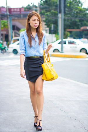 denim Uniqlo top - yellow Prada bag - leather Virtual Tianggean skirt