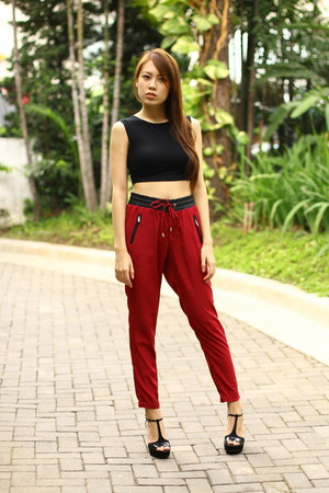 black Forever 21 top - red Stradivarius pants - black Michael Kors heels