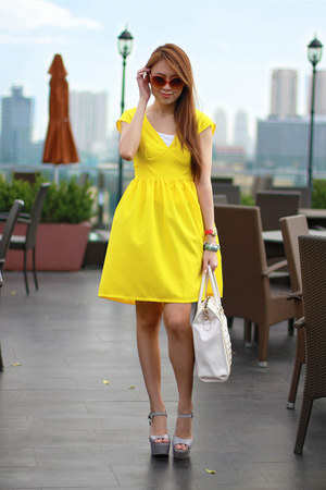 yellow We Grow Dresses dress - white Atmosphere bag - orange Mango sunglasses