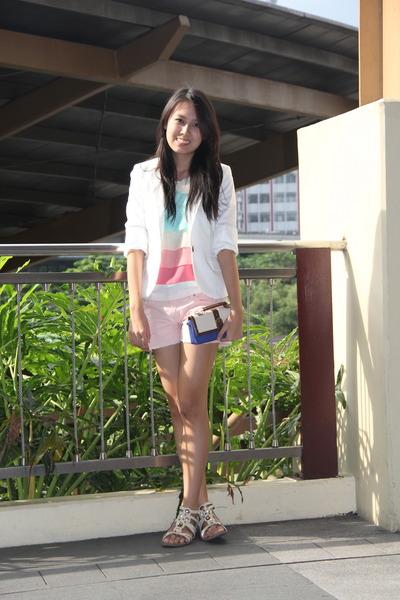 pastel Cosmopolitan top - white Mango blazer - clutch liz claiborne bag
