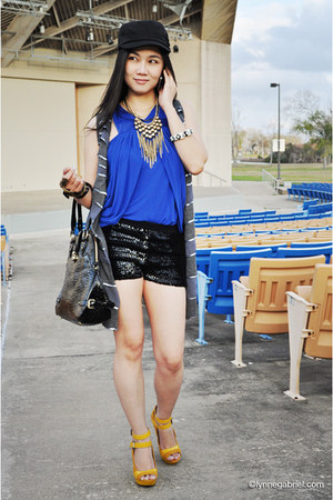 sequined Forever 21 shorts - Vasaelini bag - knit drape Allen B blouse