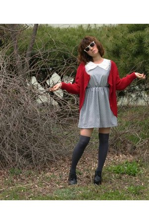 heykiddo dress - grey knee socks heykiddo socks - red cardigan heykiddo cardigan