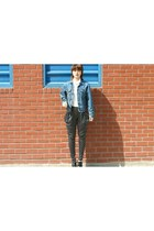 dot pants heykiddo pants - denim jacket Levis jacket - heykiddo blouse