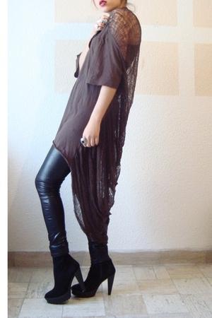 brown ROUGE et NOIR t-shirt - dress