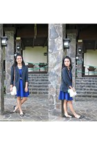 black blazer - blue dress