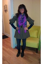 black side zipper xhilaration boots - olive green TJ Maxx coat - navy zipper poc