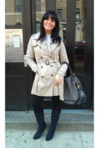suede elle boots - trench coat Forever 21 coat - ruffled collar Forever 21 sweat