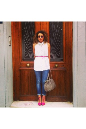 beige leather Zara bag - hot pink t bars shoes - navy jeans