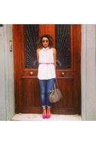 beige leather Zara bag - hot pink t bars shoes - navy jeans