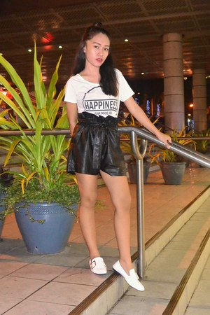 leather shorts - top - loafers