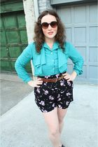 brown sunglasses - blue vintage blouse - black Urban Outfitters shorts